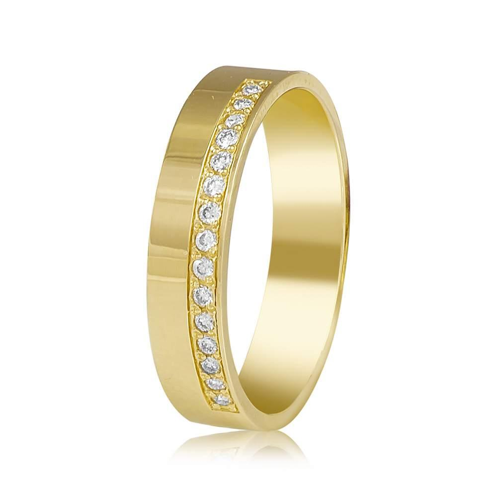 Золотое обручальное кольцо с бриллиантами, желтое золото, КОА7137/2 Eurogold