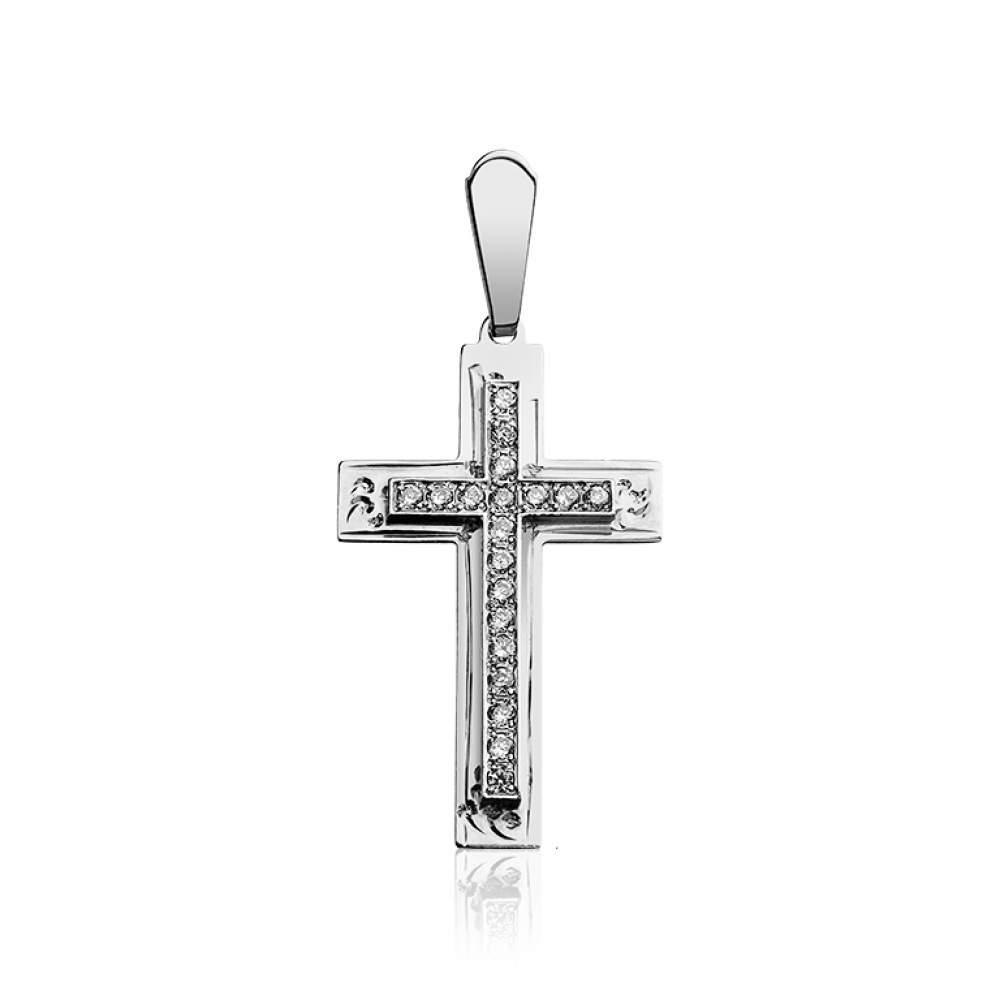 Крест КР0126Б с камнем Циркон, белое золото Eurogold