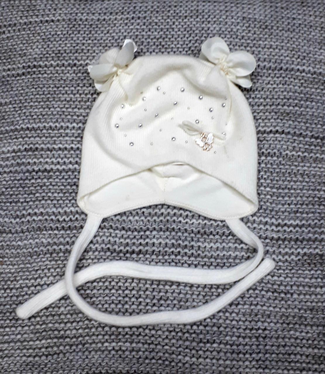 Шапка детская  на девочку демисезонная молочного цвета Elf kids (Польша) размер 40