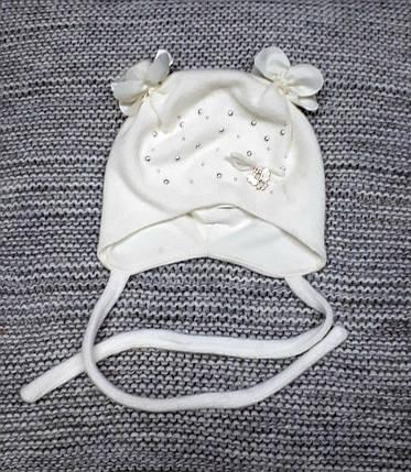 Шапка детская  на девочку демисезонная молочного цвета Elf kids (Польша) размер 40, фото 2