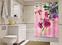 """Фото Шторка для ванной """"Гвоздики, сирень и бабочки"""""""