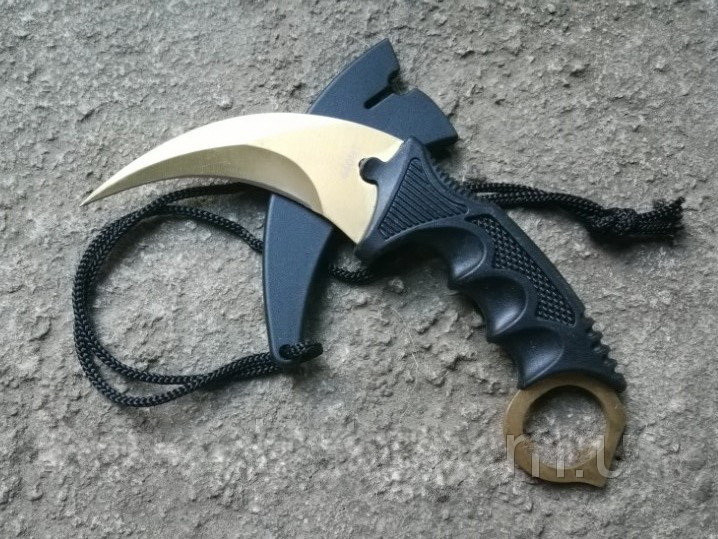 Серповидний ніж - керамбит Золотий, тигра/ лапа півня, тренувальний карамбит, відмінний подарунок
