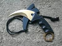 Серповидний ніж - керамбит Золотий, тигра/ лапа півня, тренувальний карамбит, відмінний подарунок, фото 1