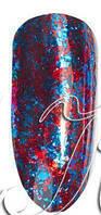 Втирка для ногтей синяя красная Fireworks Foil №4
