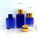 Флакон 35 мл з синього пластиказ піпеткою, квадратний, фото 3