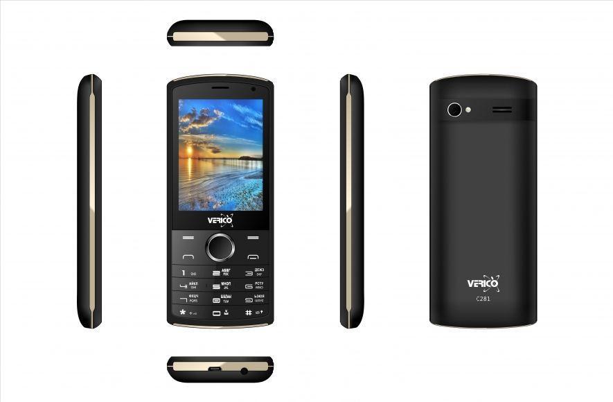 Мобильный телефон кнопочный на 2 сим карты с большим экраном Verico C281 черно-золотистый