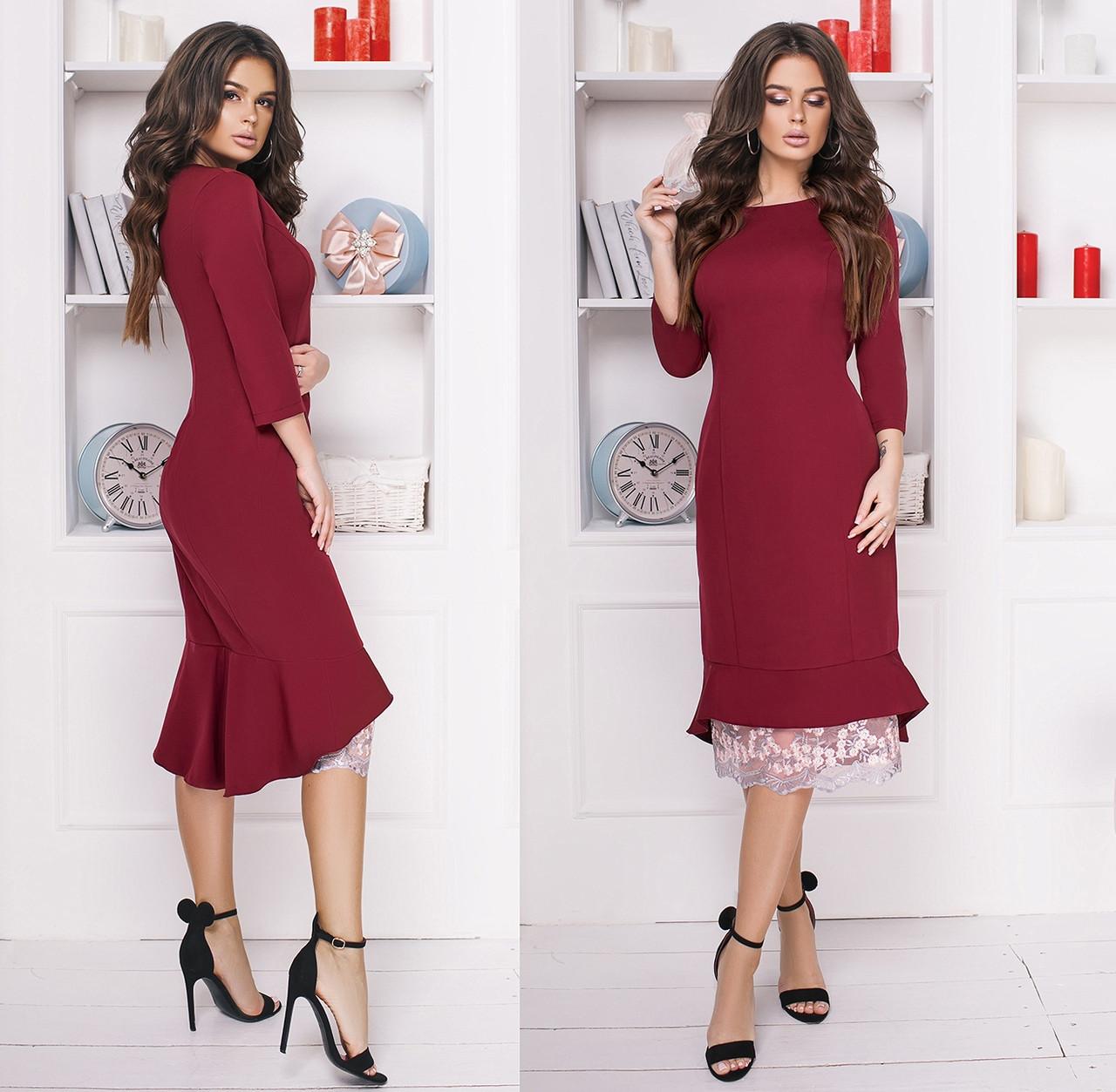 a06dbec6f5d Очаровательное платье с вышивкой на сетке. Бордовое