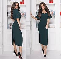 Элегантное платье миди. Зелёное, 3 цвета. Р-ры: 42-44, 44-46.