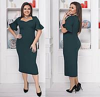 Элегантное платье миди. Зелёное, 3 цвета. Р-ры:48-50,52-54,56-58.