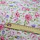 Ткань хлопок 100% белая с розовыми и сиреневыми цветами Корея отрез 40 на 50 см, фото 2