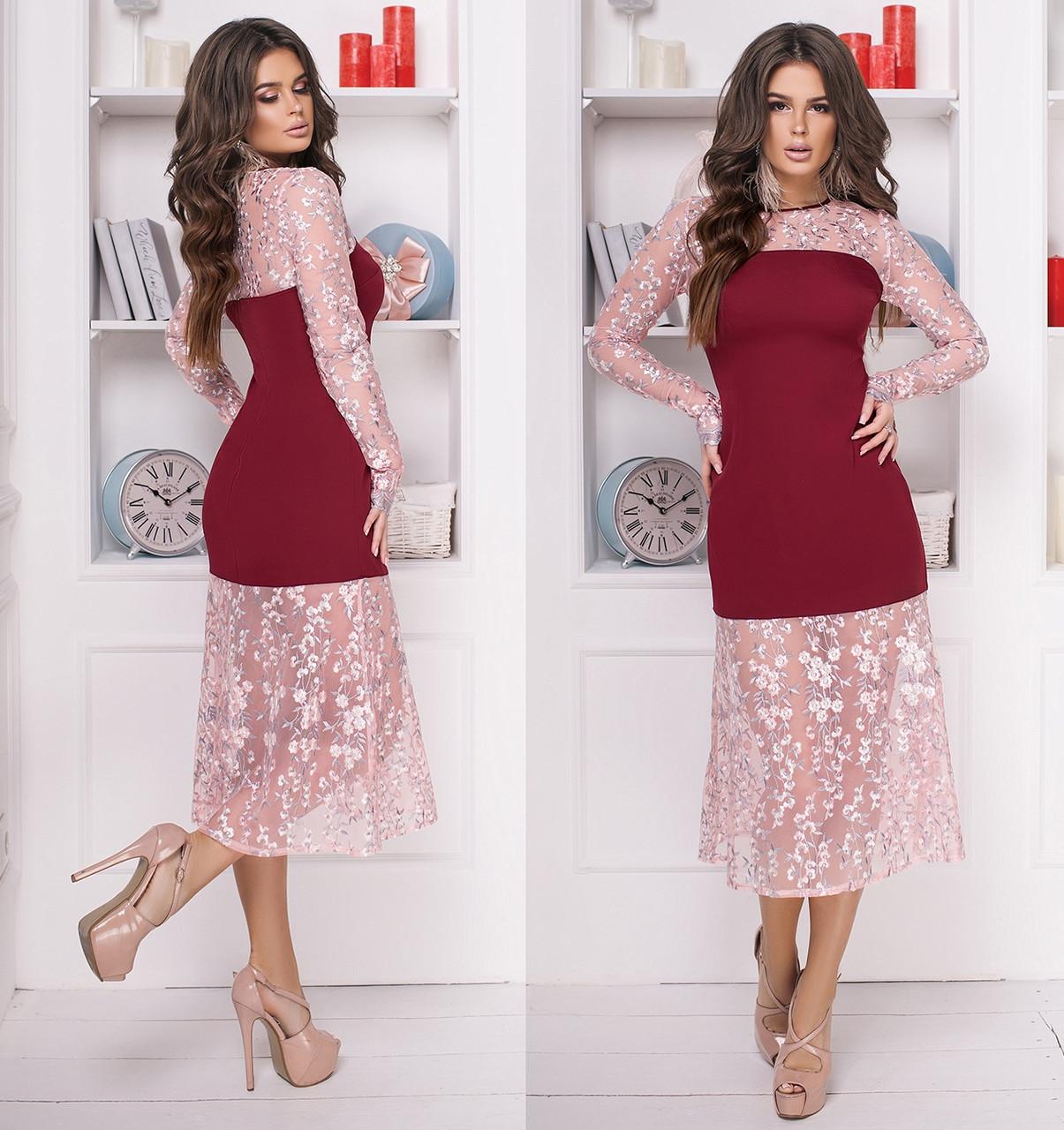 ee82c072c23 Платье с вышивкой на сетке. Бордовое
