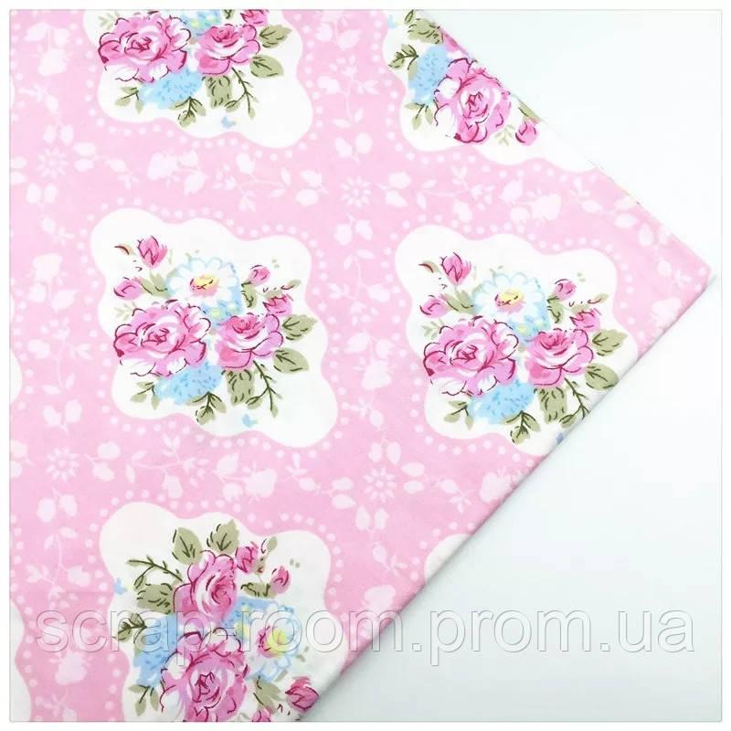 Ткань хлопок 100% отрез 40 на 50 см розовая с цветами, голубые цветы на розовом, Корея
