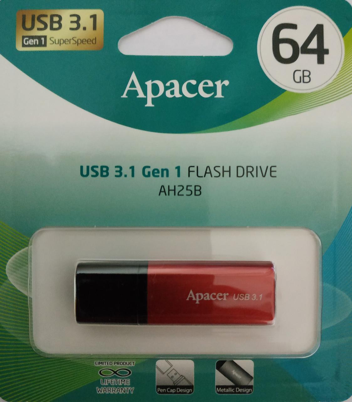 Флеш накопитель Apacer AH25B USB 3.1 Gen 1 64 гб