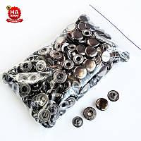 Кнопки для одежды Alfa 15мм. Кнопки для курток, Темный никель (100шт)
