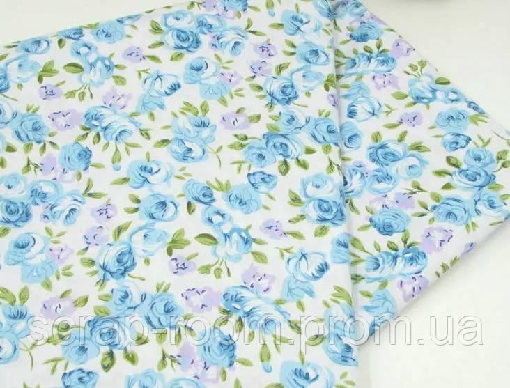 Ткань хлопок 100% голубая с голубыми цветами Корея отрез 40 на 50 см