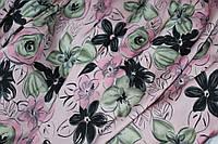 Нежно пудровый цвет.Ткань шелк армани  с цветами №133, фото 1