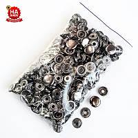 Кнопки для одежды Каппа 15мм. Кнопка киевская №61, Темный никель (100шт)