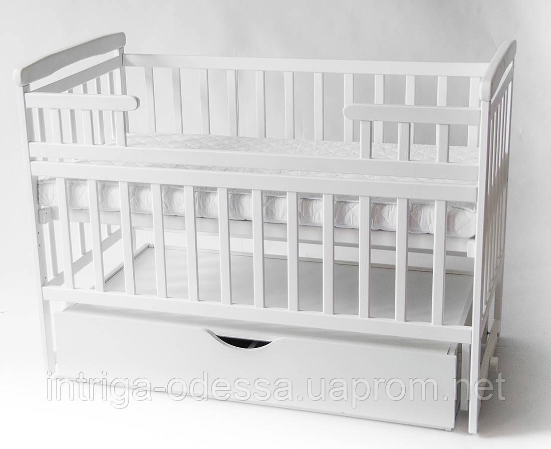 Кроватка-трансформер детская белая с ящиком