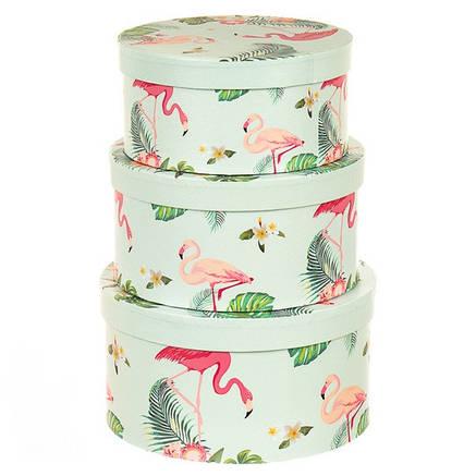 """Набор коробок для цветов с ручкой """" Фламинго в тропиках """" ( картон ) , фото 2"""