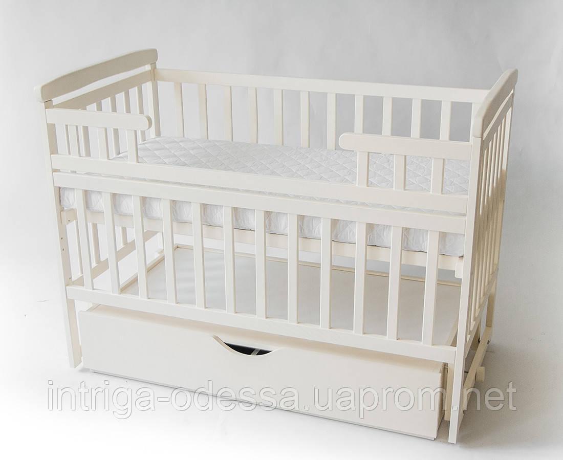 Кроватка-трансформер детская с ящиком Ваниль