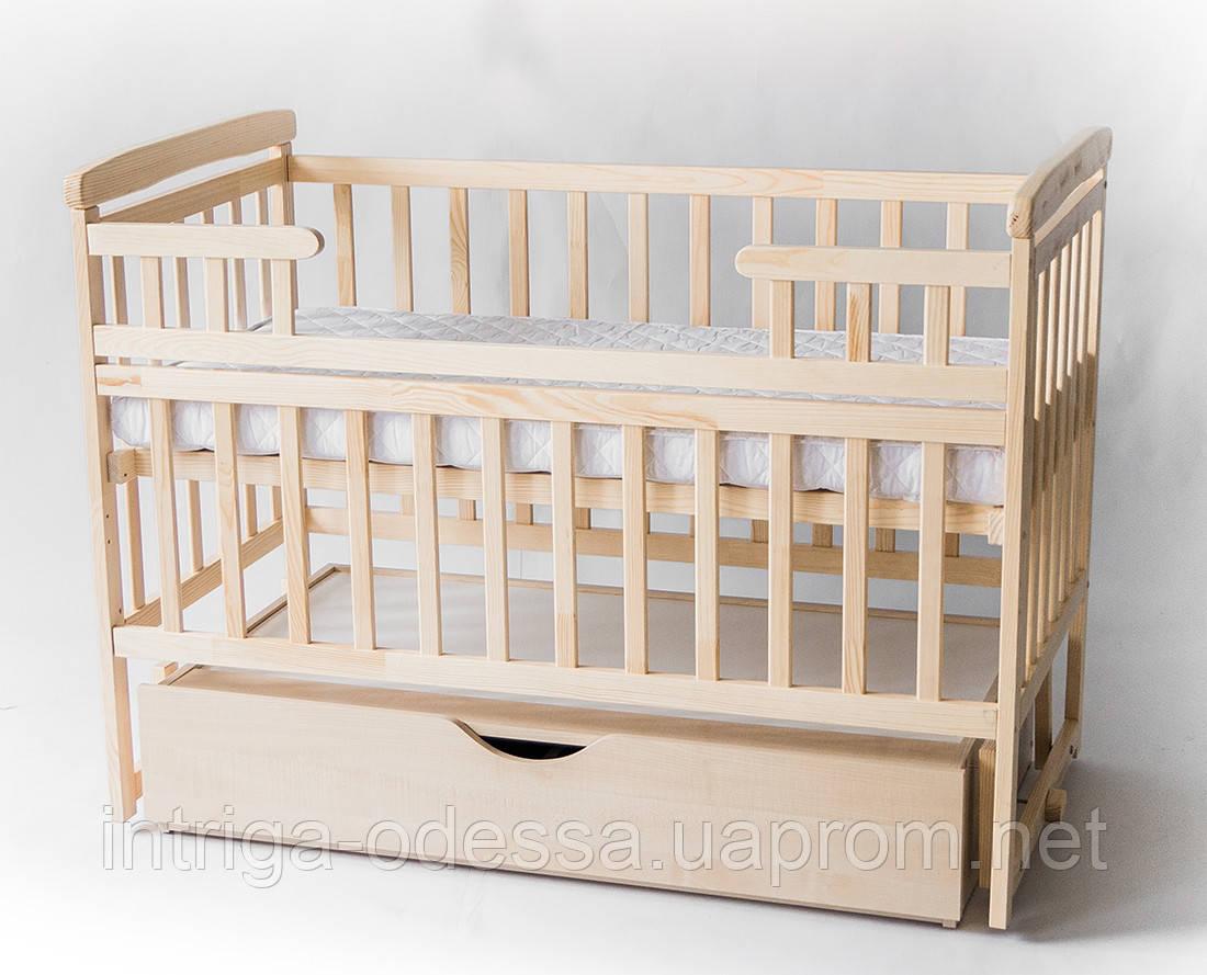 Кроватка-трансформер детская деревянная с ящиком