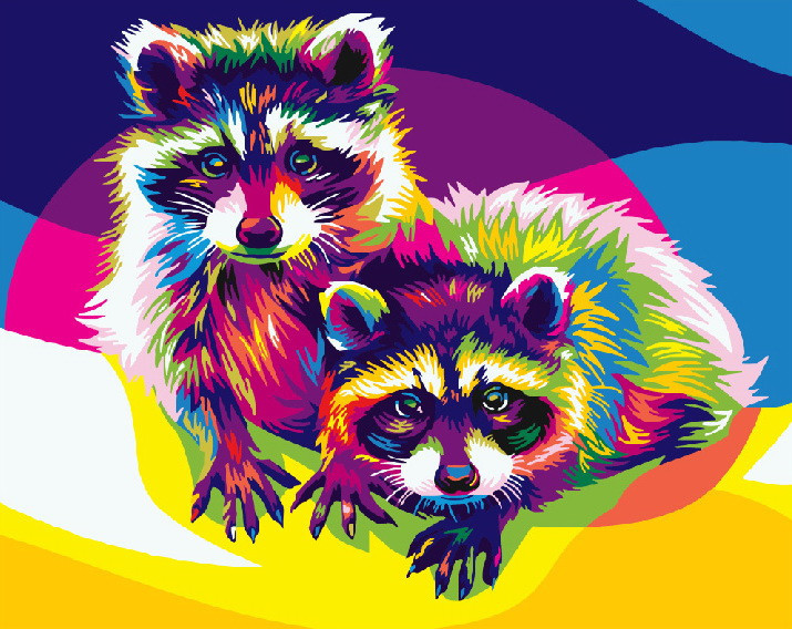 Картина по номерам Радужные еноты 40 х 50 см (BRM5387)