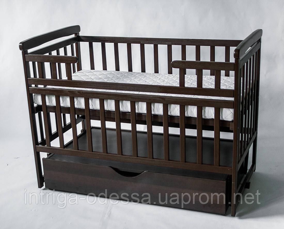 Кроватка-трансформер детская с ящиком Орех