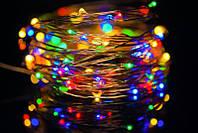 Гирлянда светодиодная нить  на батарейках  (разноцветная ) 3 метра
