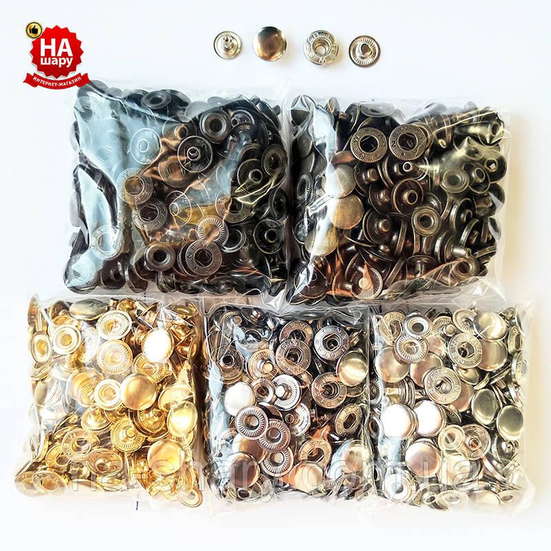 Кнопки для одежды Alfa 15мм. Кнопки курточные. Набор (5 цветов по 50шт)