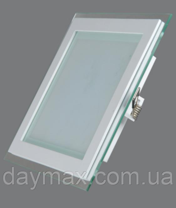 Світильник світлодіодний вбудований LED зі склом 12w,стельовий,квадрат Kwant 3000к