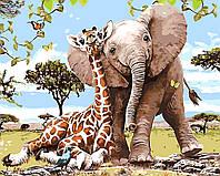 Картина по номерам Слоненок и жираф 40 х 50 см (BRM8895)