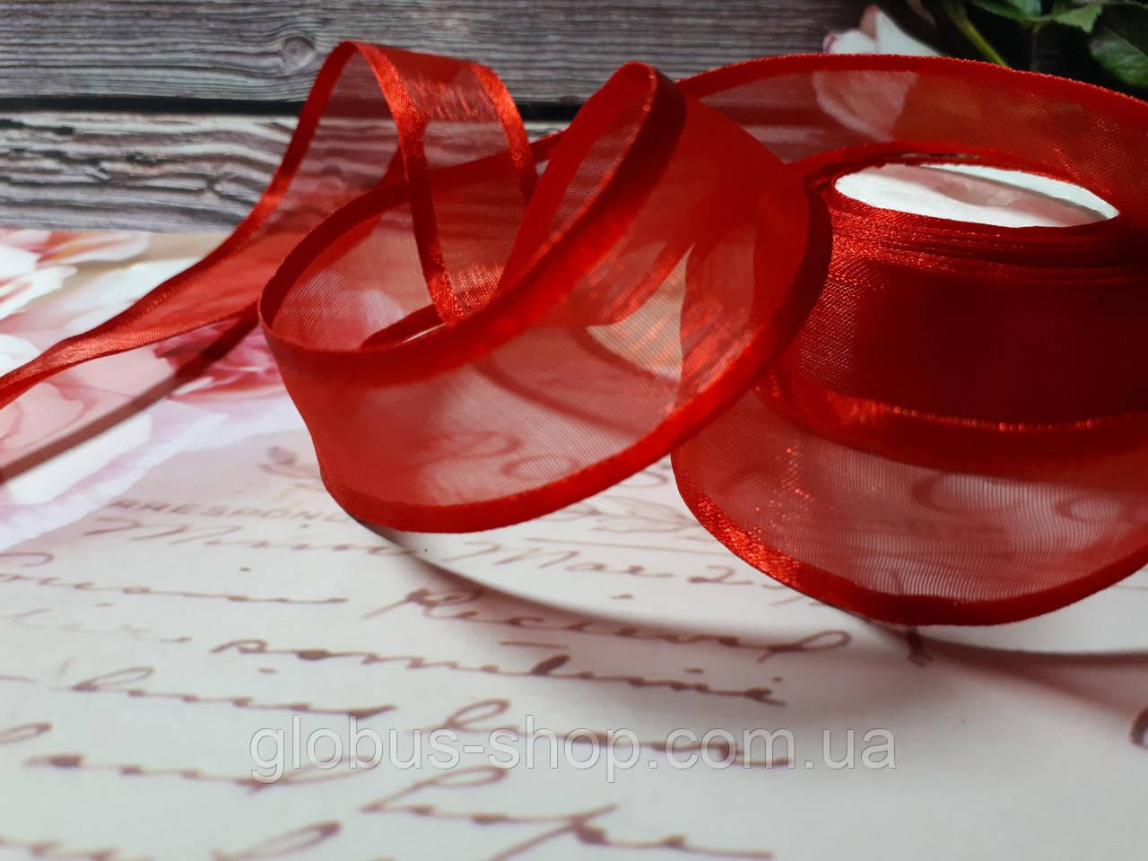 Органза с атласным краем  2,5 , цвет красный