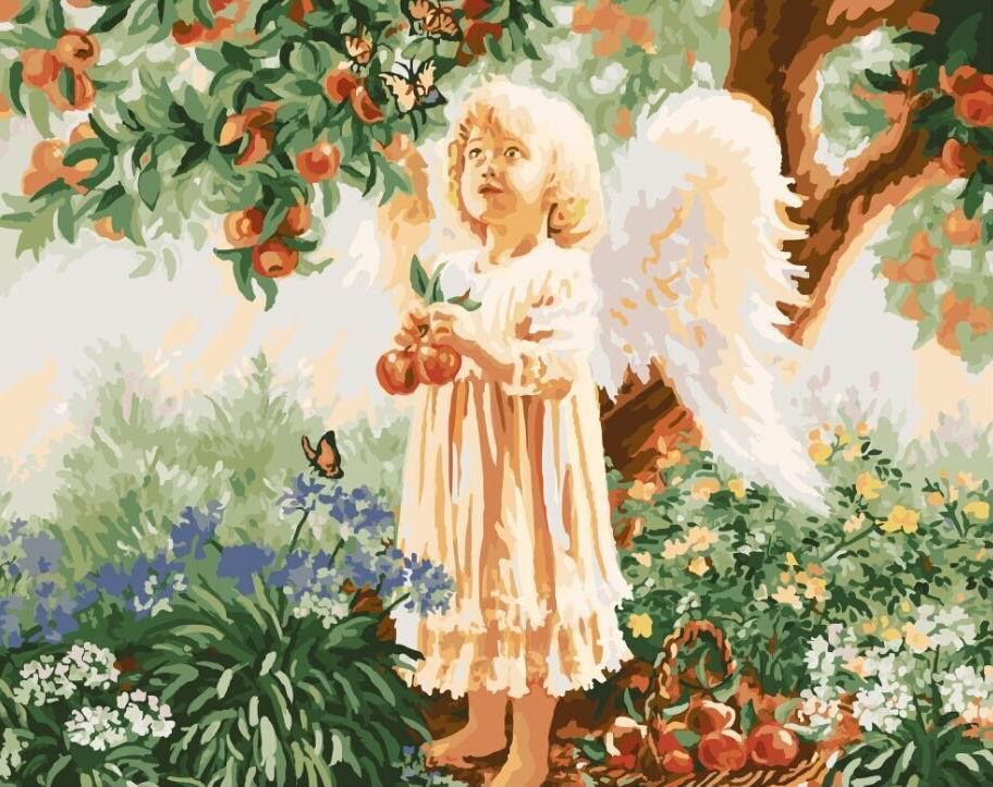 Картина по номерам Ангелочек под яблоней 40 х 50 см (BRM9515)