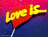 Топпер Love Is, Love Is на палочке, цветные топпера из пластика на день влюбленных,Любовь это..., фото 4
