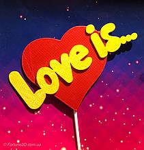 Топпер Love Is, Love Is на палочке, цветные топпера из пластика на день влюбленных,Любовь это...
