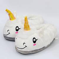 Мягкие тапочки Единорог белый, фото 1