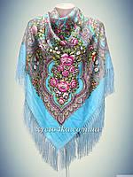 Шерстяной платок с пышной бахромой Дыхание лета, голубой 120см