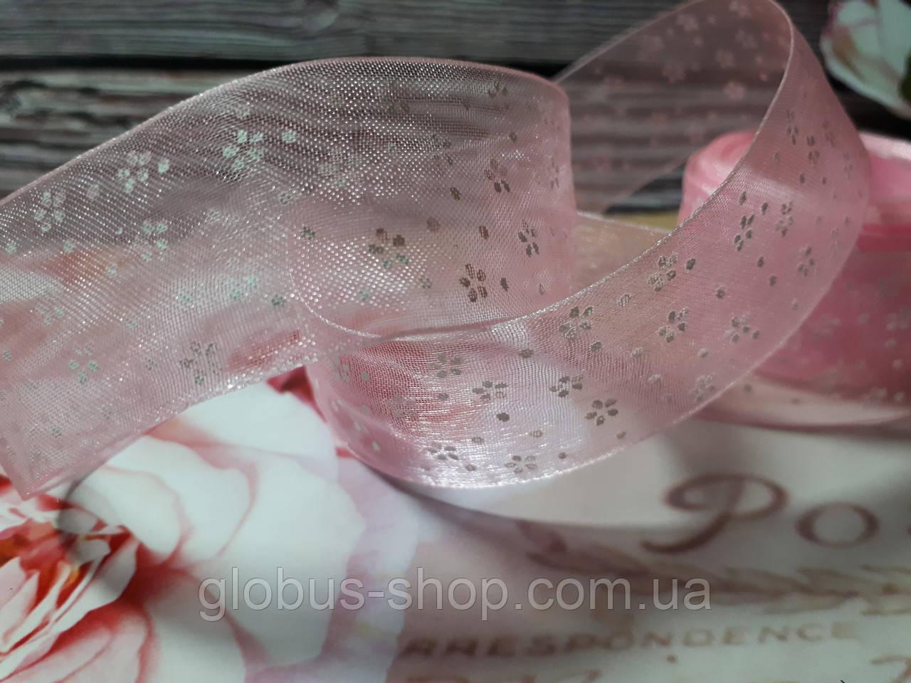 Органза 2,5 см квіточку , колір рожевий