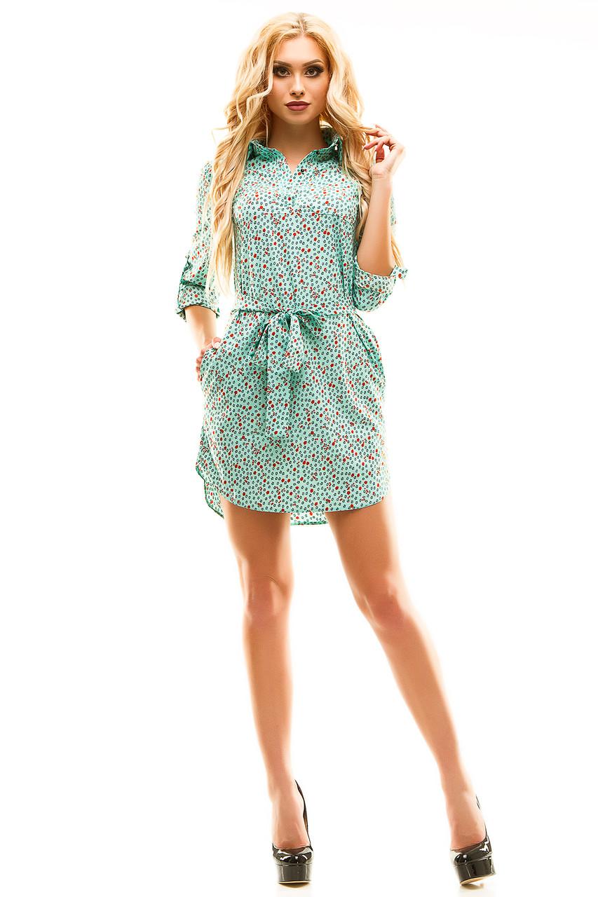Платье- рубашка 274  мята принт размер 48