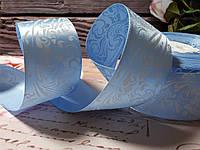 Атлас Орнамент 4 см, колір блакитний
