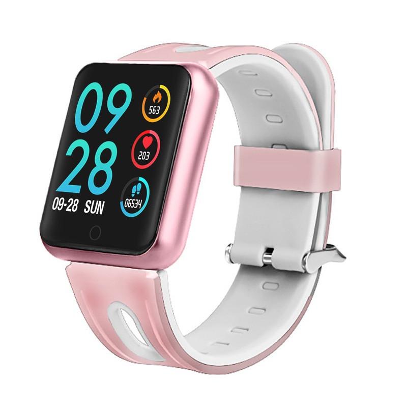 Умный спорт браслет P68 тонометр давление крови iPhone Android фитнес трекер пульсометр цветной экран розовый