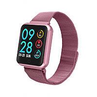 Умный браслет P68 тонометр давление крови iPhone Android спорт фитнес трекер пульсометр цветной экран сиреневы