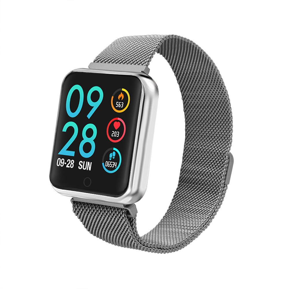 Умный браслет P68 тонометр давление крови iPhone Android спорт фитнес трекер пульсометр цветной экран серебро