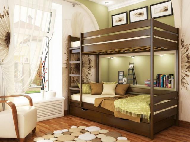 Кровать двухъярусная Дуэт тм Эстелла цвет №101 Тёмный орех (Бук Массив)