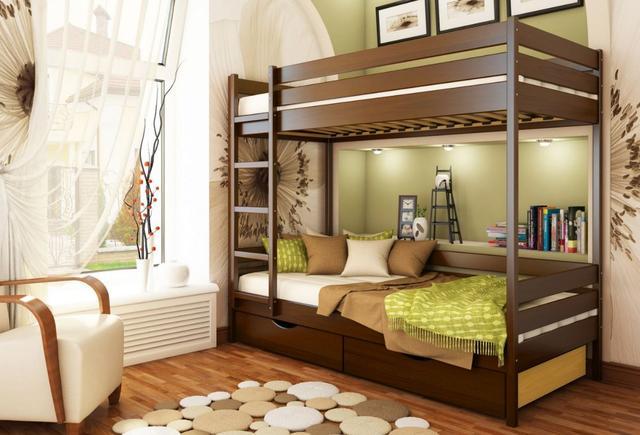 Кровать двухъярусная Дуэт тм Эстелла цвет №101 Тёмный орех (Бук Массив) ящики ДСП