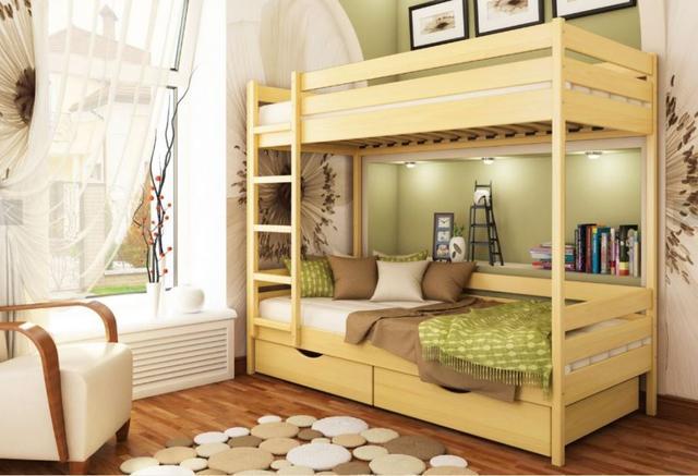 Кровать двухъярусная Дуэт тм Эстелла цвет №102 Бук натуральный (Массив)