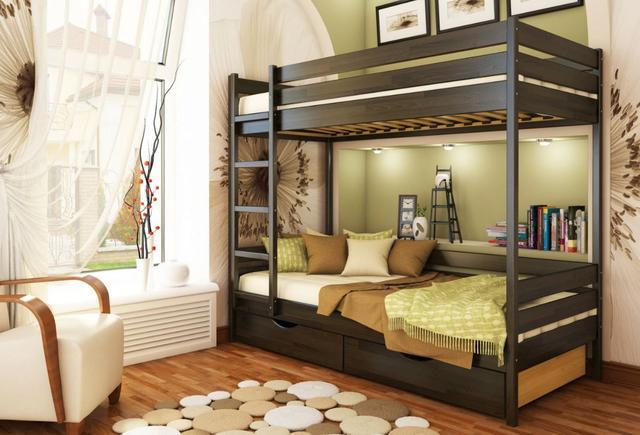 Кровать двухъярусная Дуэт тм Эстелла цвет №106 Венге (Бук Щит) ящики ДСП