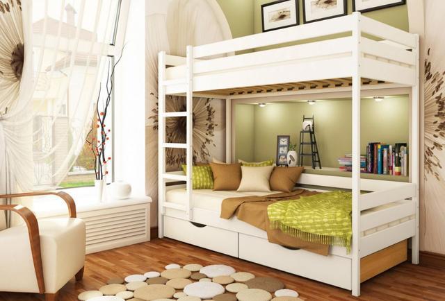 Кровать двухъярусная Дуэт тм Эстелла цвет №107 Белый Акрил (Бук Щит) ящики ДСП