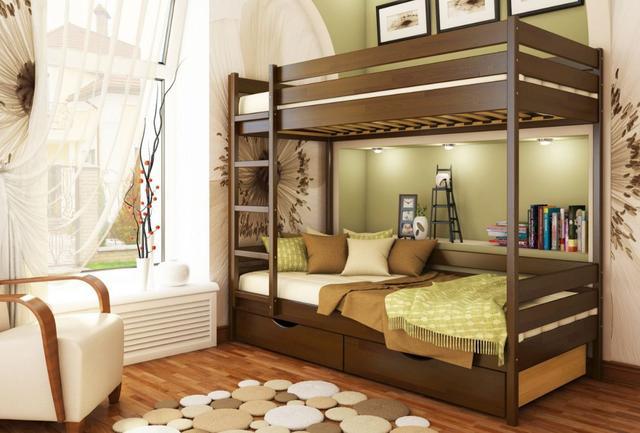 Кровать двухъярусная Дуэт тм Эстелла цвет №101 Тёмный орех (Бук Щит) ящики ДСП