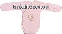 Детское боди с начёсом рост 56 (0-2 мес.) интерлок розовый на девочку с закрытыми ручками для новорожденных Р-183